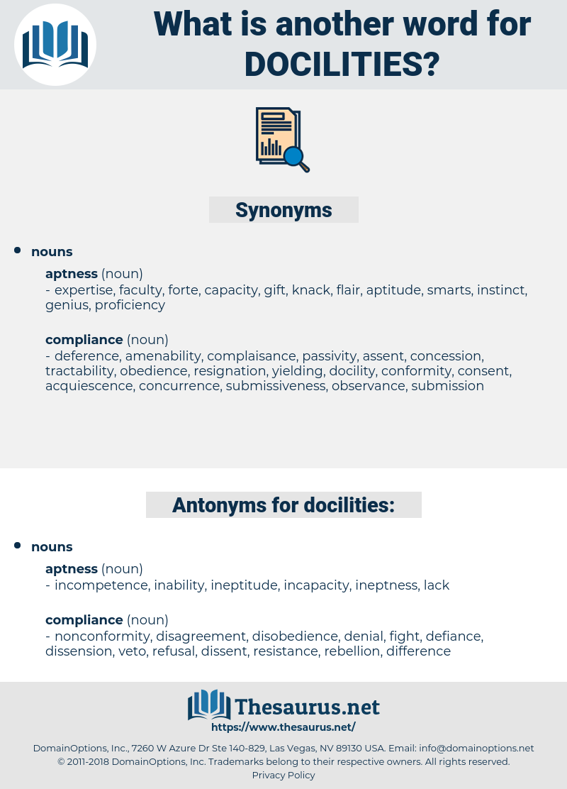 docilities, synonym docilities, another word for docilities, words like docilities, thesaurus docilities