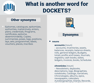 dockets, synonym dockets, another word for dockets, words like dockets, thesaurus dockets