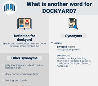 dockyard, synonym dockyard, another word for dockyard, words like dockyard, thesaurus dockyard