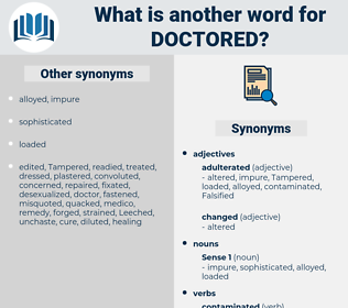 Doctored, synonym Doctored, another word for Doctored, words like Doctored, thesaurus Doctored
