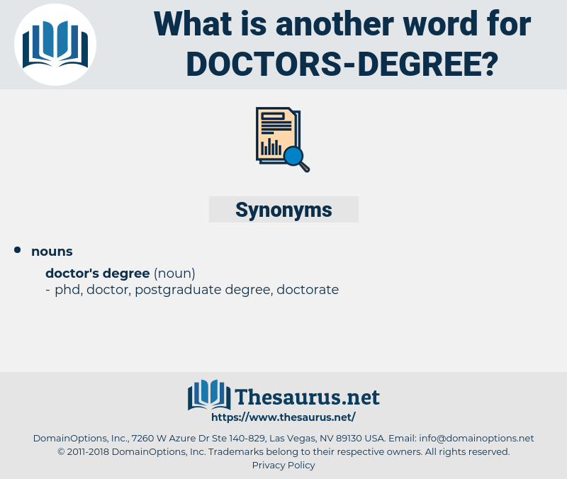 doctors degree, synonym doctors degree, another word for doctors degree, words like doctors degree, thesaurus doctors degree