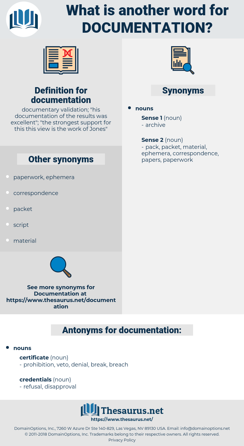documentation, synonym documentation, another word for documentation, words like documentation, thesaurus documentation