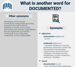 documented, synonym documented, another word for documented, words like documented, thesaurus documented
