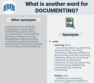 documenting, synonym documenting, another word for documenting, words like documenting, thesaurus documenting