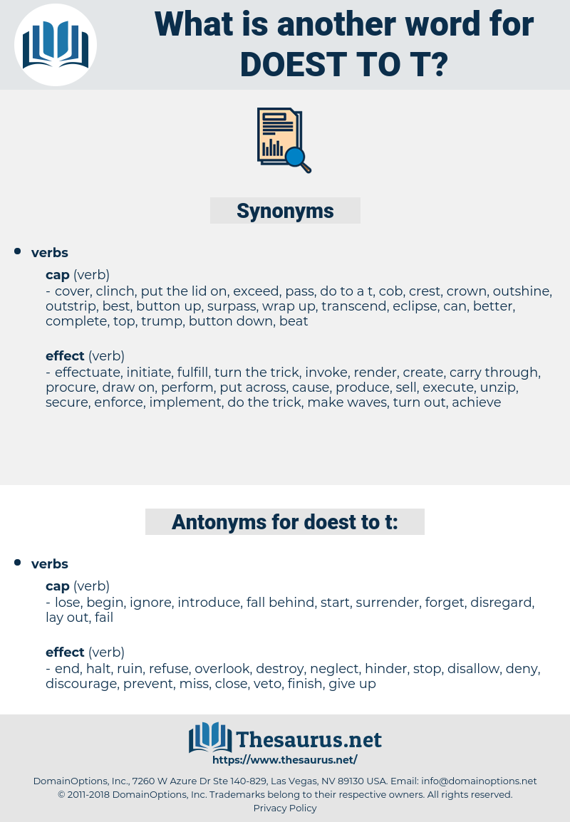 doest to t, synonym doest to t, another word for doest to t, words like doest to t, thesaurus doest to t