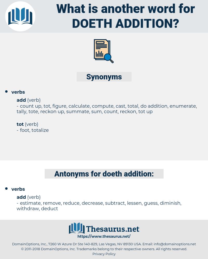 doeth addition, synonym doeth addition, another word for doeth addition, words like doeth addition, thesaurus doeth addition