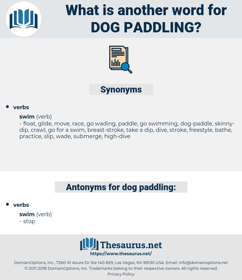 dog paddling, synonym dog paddling, another word for dog paddling, words like dog paddling, thesaurus dog paddling