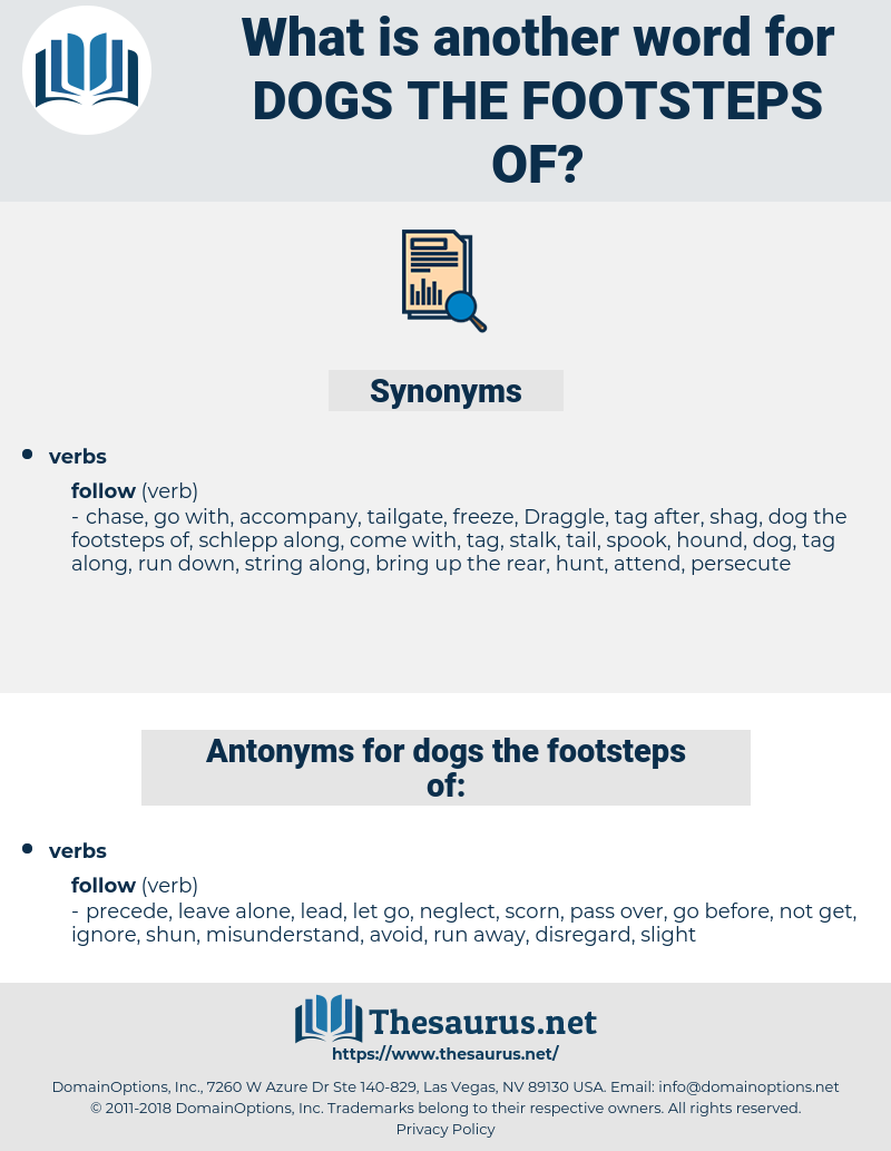 dogs the footsteps of, synonym dogs the footsteps of, another word for dogs the footsteps of, words like dogs the footsteps of, thesaurus dogs the footsteps of
