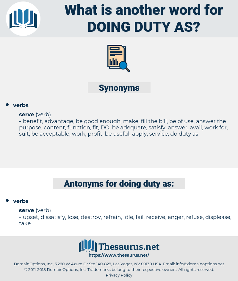 doing duty as, synonym doing duty as, another word for doing duty as, words like doing duty as, thesaurus doing duty as