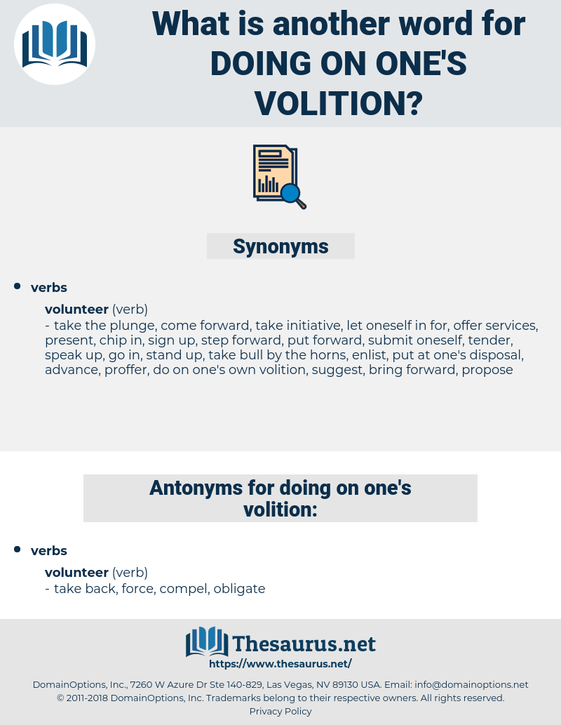 doing on one's volition, synonym doing on one's volition, another word for doing on one's volition, words like doing on one's volition, thesaurus doing on one's volition
