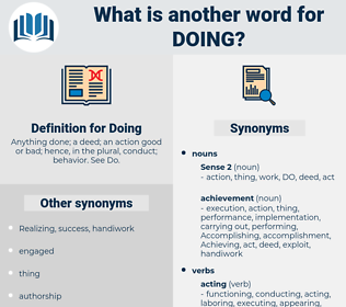 Doing, synonym Doing, another word for Doing, words like Doing, thesaurus Doing