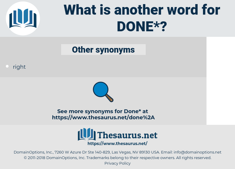 done, synonym done, another word for done, words like done, thesaurus done