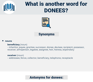 donees, synonym donees, another word for donees, words like donees, thesaurus donees