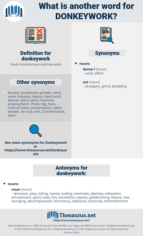 donkeywork, synonym donkeywork, another word for donkeywork, words like donkeywork, thesaurus donkeywork