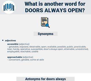 doors always open, synonym doors always open, another word for doors always open, words like doors always open, thesaurus doors always open