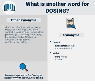 dosing, synonym dosing, another word for dosing, words like dosing, thesaurus dosing