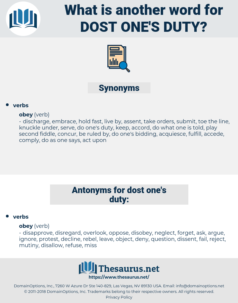 dost one's duty, synonym dost one's duty, another word for dost one's duty, words like dost one's duty, thesaurus dost one's duty