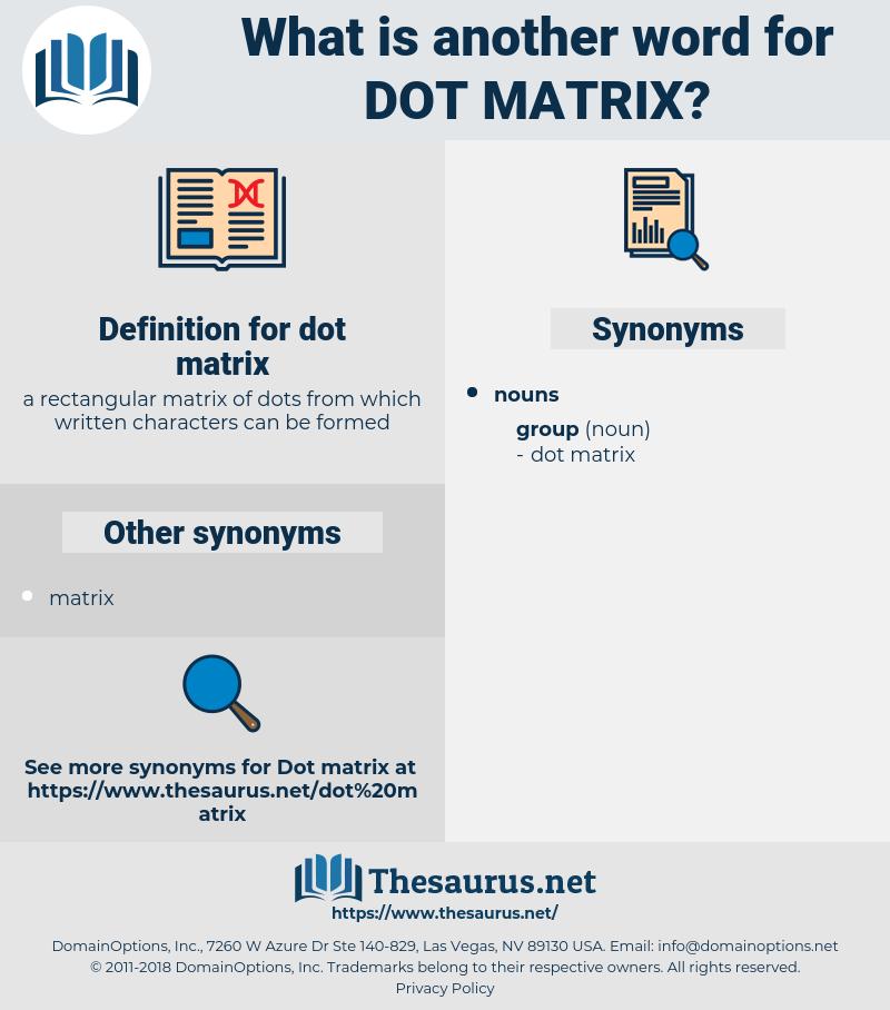 dot matrix, synonym dot matrix, another word for dot matrix, words like dot matrix, thesaurus dot matrix