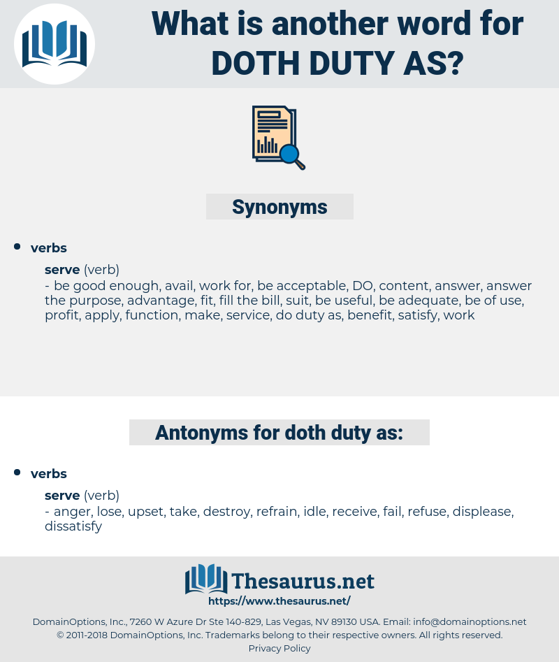 doth duty as, synonym doth duty as, another word for doth duty as, words like doth duty as, thesaurus doth duty as