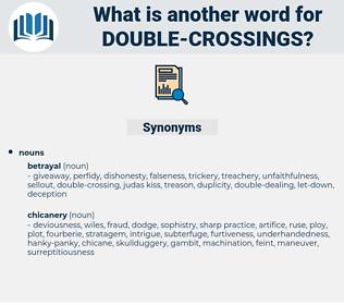 double-crossings, synonym double-crossings, another word for double-crossings, words like double-crossings, thesaurus double-crossings