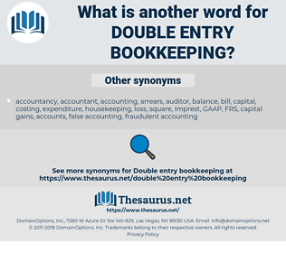 double entry bookkeeping, synonym double entry bookkeeping, another word for double entry bookkeeping, words like double entry bookkeeping, thesaurus double entry bookkeeping