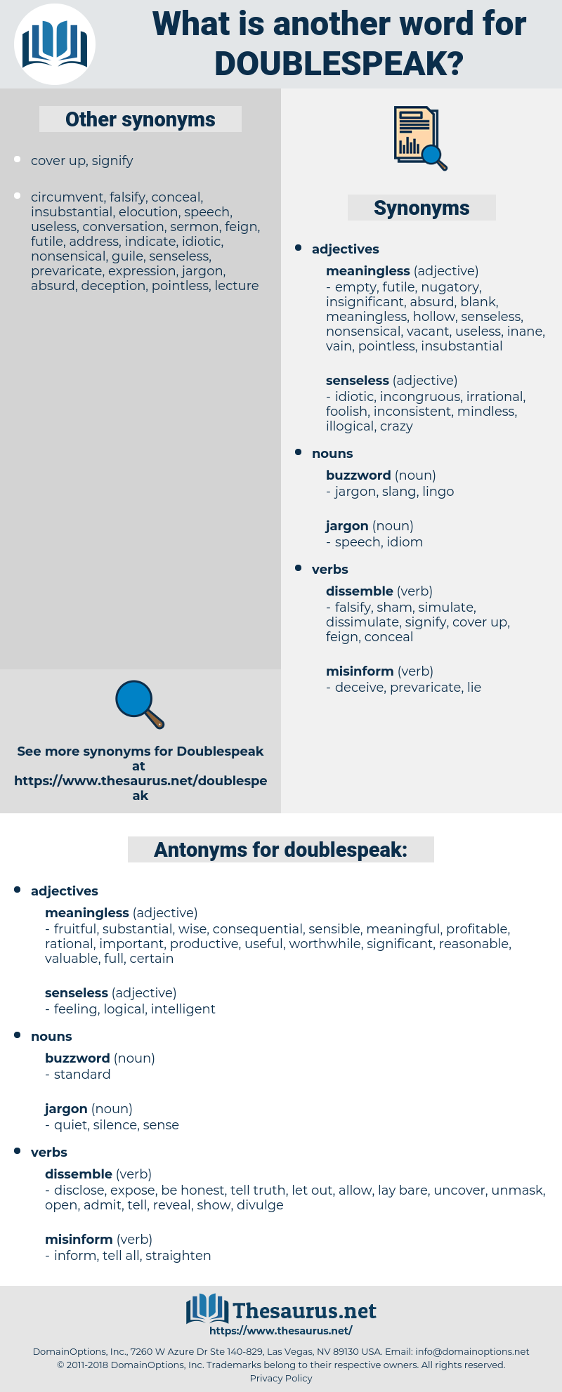 doublespeak, synonym doublespeak, another word for doublespeak, words like doublespeak, thesaurus doublespeak