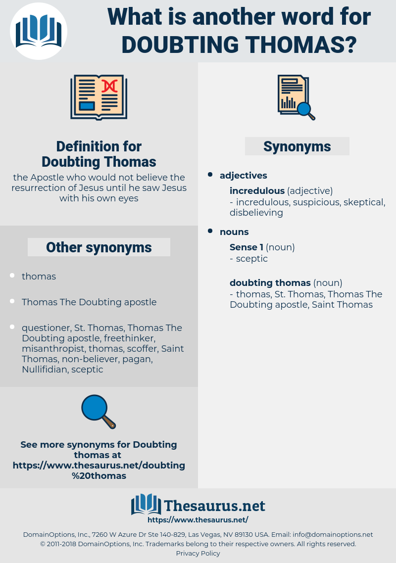 Doubting Thomas, synonym Doubting Thomas, another word for Doubting Thomas, words like Doubting Thomas, thesaurus Doubting Thomas