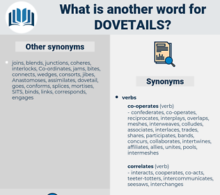 dovetails, synonym dovetails, another word for dovetails, words like dovetails, thesaurus dovetails