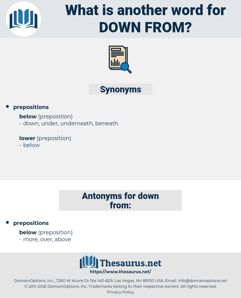 down from, synonym down from, another word for down from, words like down from, thesaurus down from