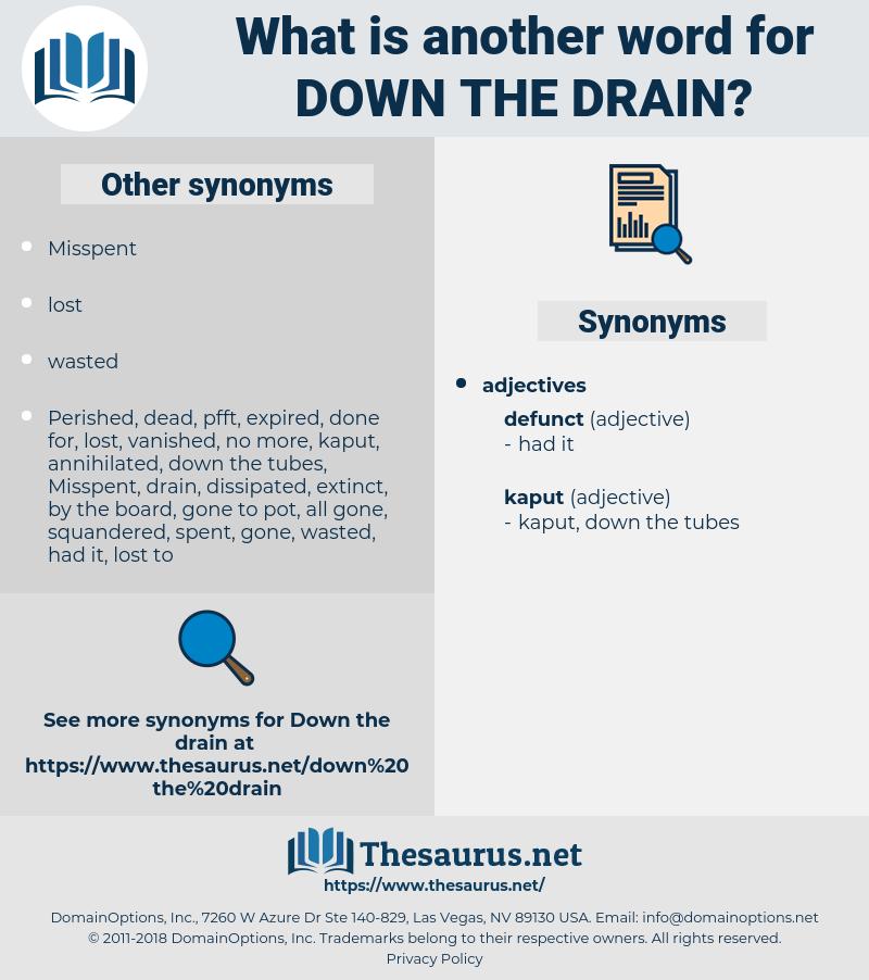 down the drain, synonym down the drain, another word for down the drain, words like down the drain, thesaurus down the drain
