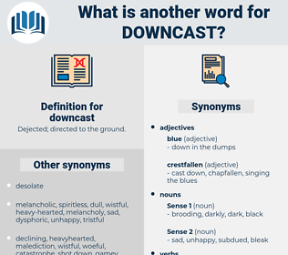 downcast, synonym downcast, another word for downcast, words like downcast, thesaurus downcast