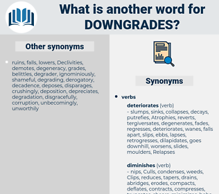 downgrades, synonym downgrades, another word for downgrades, words like downgrades, thesaurus downgrades