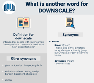 downscale, synonym downscale, another word for downscale, words like downscale, thesaurus downscale