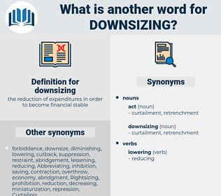downsizing, synonym downsizing, another word for downsizing, words like downsizing, thesaurus downsizing