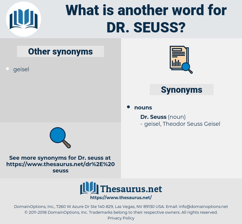 Dr. Seuss, synonym Dr. Seuss, another word for Dr. Seuss, words like Dr. Seuss, thesaurus Dr. Seuss