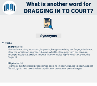 dragging in to court, synonym dragging in to court, another word for dragging in to court, words like dragging in to court, thesaurus dragging in to court
