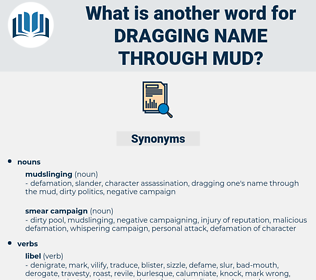 dragging name through mud, synonym dragging name through mud, another word for dragging name through mud, words like dragging name through mud, thesaurus dragging name through mud