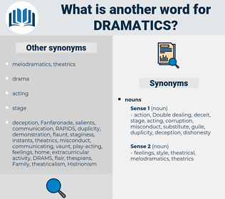 dramatics, synonym dramatics, another word for dramatics, words like dramatics, thesaurus dramatics