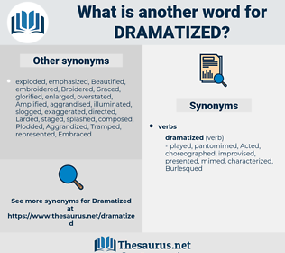 Dramatized, synonym Dramatized, another word for Dramatized, words like Dramatized, thesaurus Dramatized