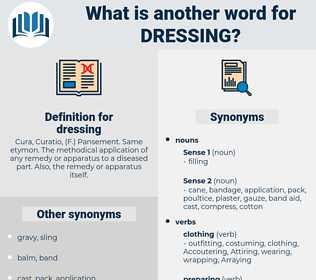 dressing, synonym dressing, another word for dressing, words like dressing, thesaurus dressing