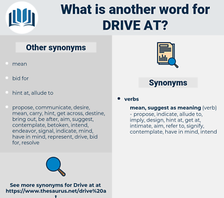 drive at, synonym drive at, another word for drive at, words like drive at, thesaurus drive at