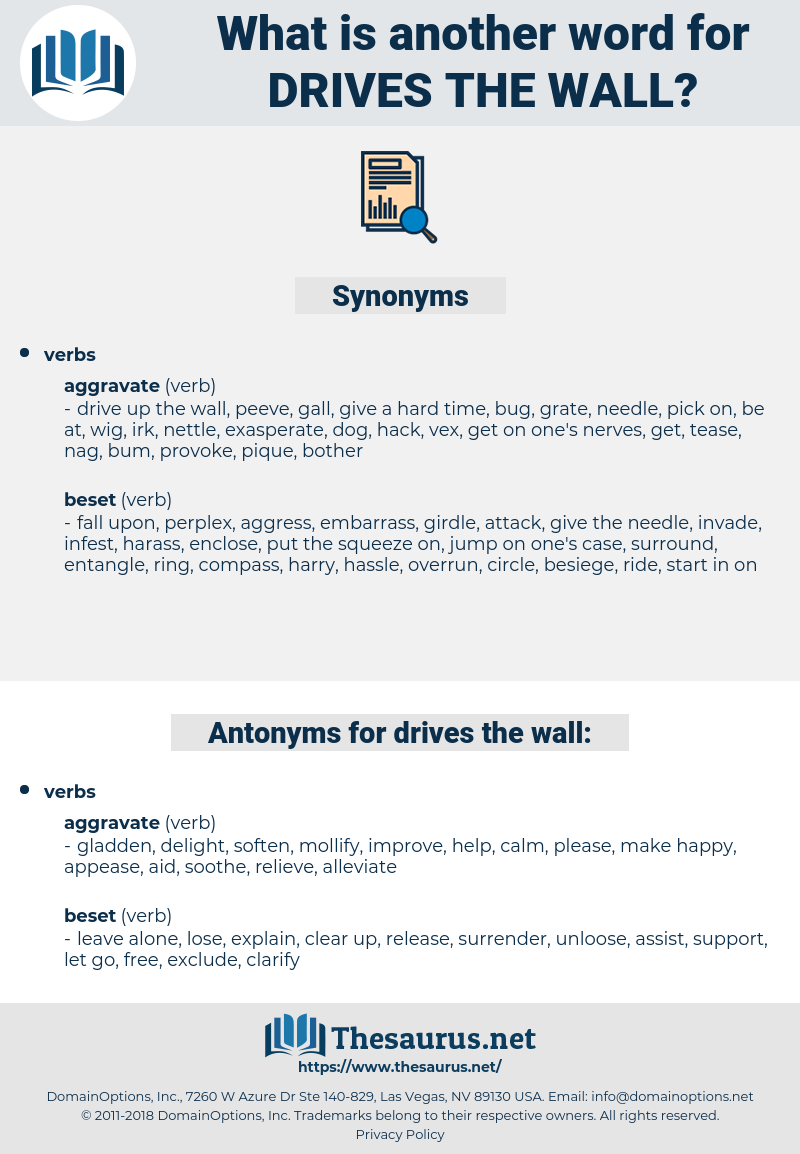 drives the wall, synonym drives the wall, another word for drives the wall, words like drives the wall, thesaurus drives the wall