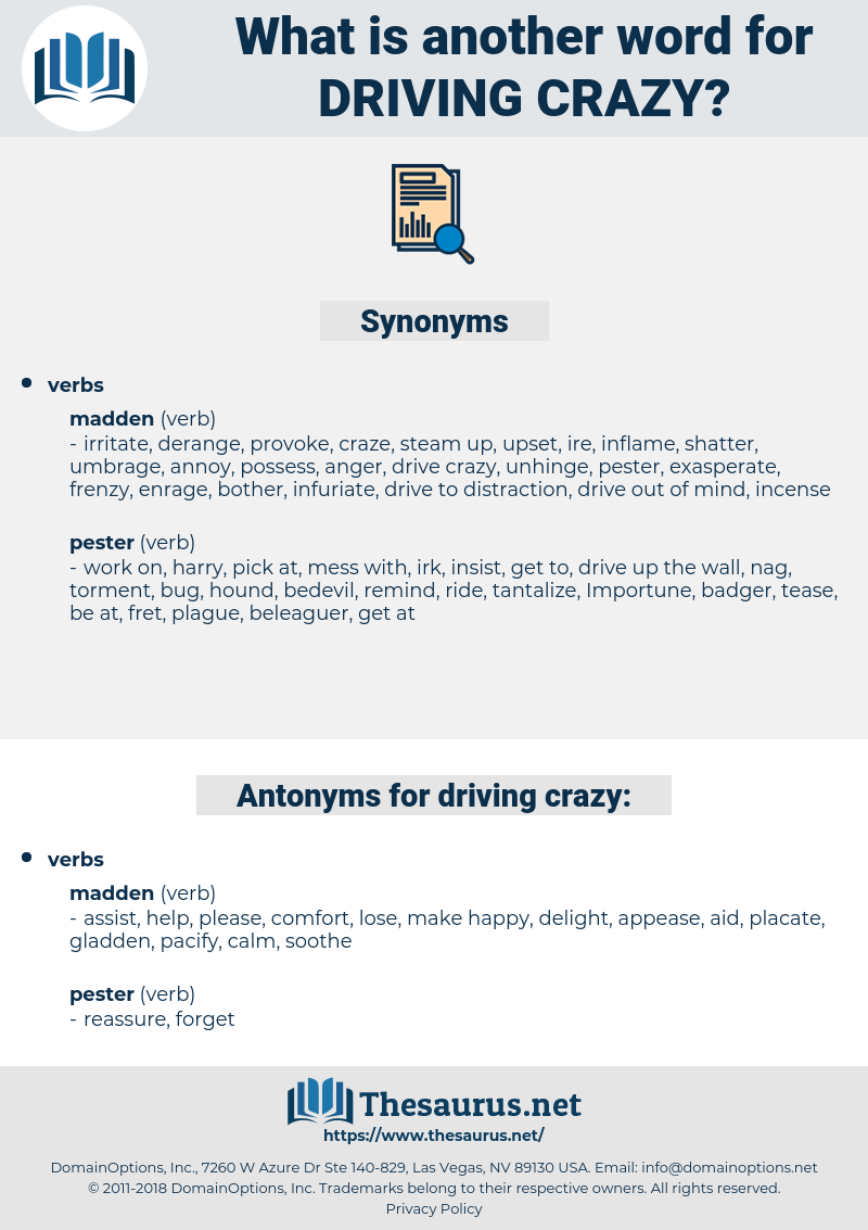 driving crazy, synonym driving crazy, another word for driving crazy, words like driving crazy, thesaurus driving crazy