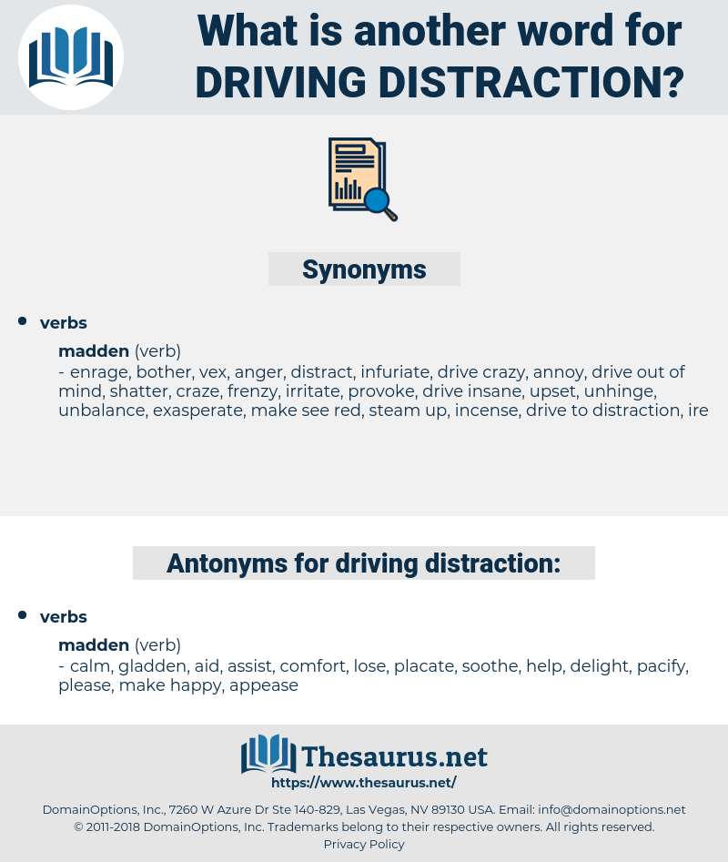 driving distraction, synonym driving distraction, another word for driving distraction, words like driving distraction, thesaurus driving distraction