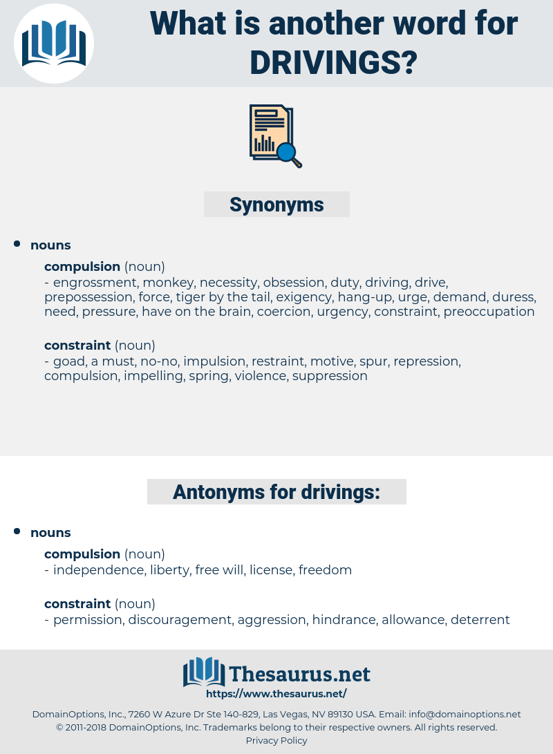 drivings, synonym drivings, another word for drivings, words like drivings, thesaurus drivings