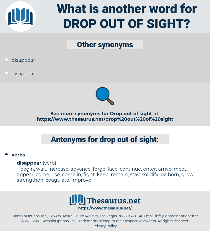 drop out of sight, synonym drop out of sight, another word for drop out of sight, words like drop out of sight, thesaurus drop out of sight