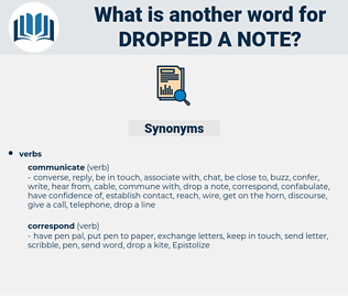 dropped a note, synonym dropped a note, another word for dropped a note, words like dropped a note, thesaurus dropped a note