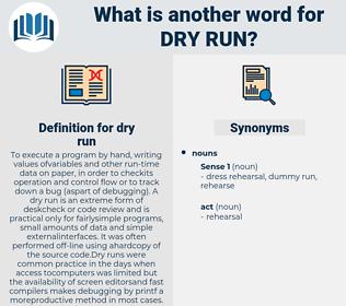 dry run, synonym dry run, another word for dry run, words like dry run, thesaurus dry run
