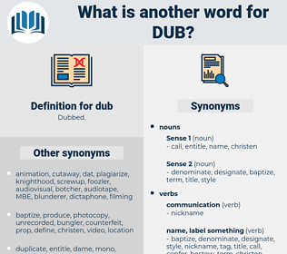 dub, synonym dub, another word for dub, words like dub, thesaurus dub