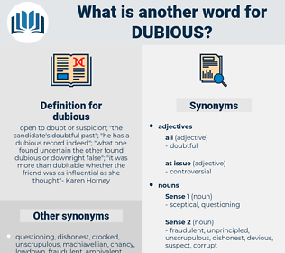 dubious, synonym dubious, another word for dubious, words like dubious, thesaurus dubious